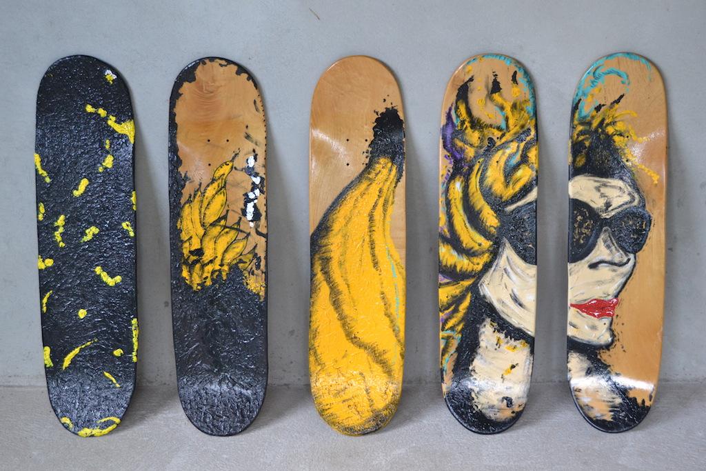 Banana - Skate - Poluição. acrílica, nanquim sobre shapes - Series 2010/11