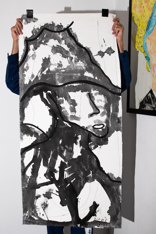 Acrílica, costuras, spray sobre ( Sobras de Cortinas ) 1,34 x 64cm. 2018