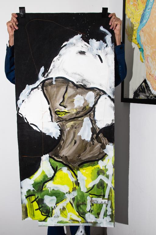 Acrílica, costuras, spray sobre ( Sobras de Cortinas ) 1,39 x 63cm. 2018