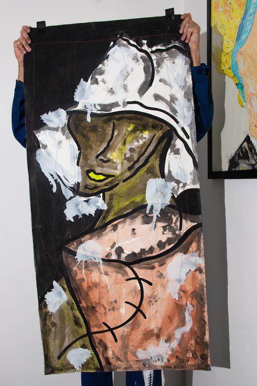 Acrílica, costuras, spray sobre ( Sobras de Cortinas ) 1,35 x 65cm. 2018
