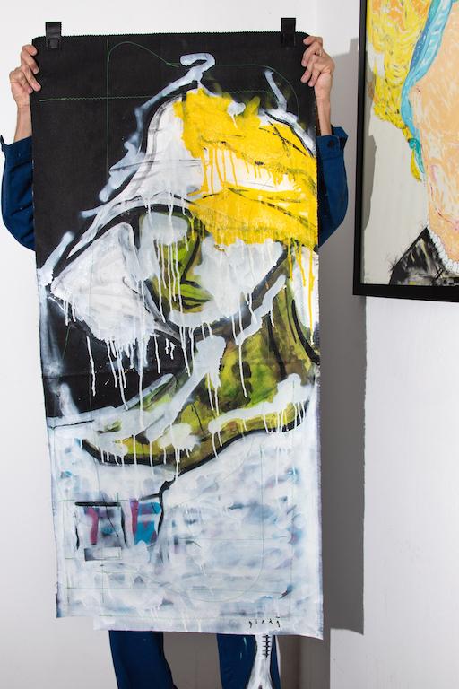Acrílica, costuras, spray sobre ( Sobras de Cortinas ) 1,39 x 64cm. 2018