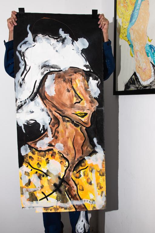 Acrílica, costuras, spray sobre material de coleta ( Sobras de Cortinas ) 1,44 x 62cm. 2018