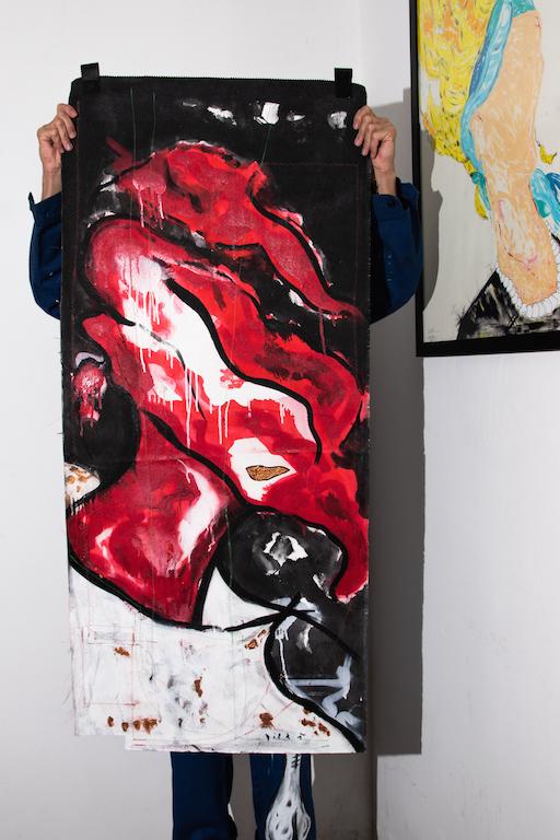 Acrílica, costuras, spray sobre material de coleta ( Sobras de Cortinas ) 1,38 x 62cm. 2018
