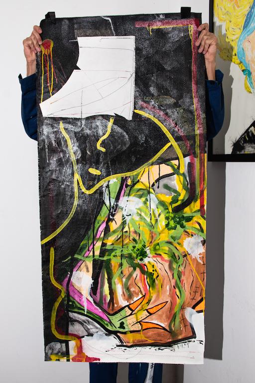 Acrílica, costuras, spray sobre material de coleta ( Sobras de Cortinas ) 1,34 x 65cm. 2018