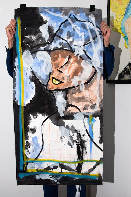 Acrílica, costuras, spray sobre ( Sobras de Cortinas ) 1,28 x 64cm. 2018