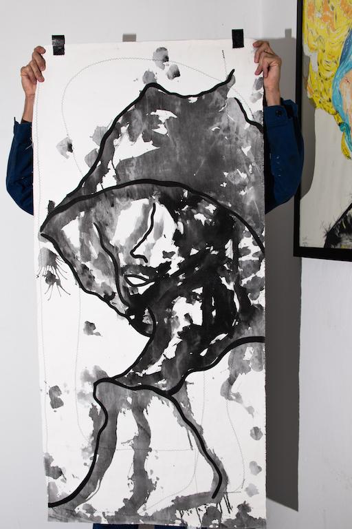 Acrílica, costuras, spray sobre material de coleta ( Sobras de Cortinas ) 1,38 x 64cm. 2018